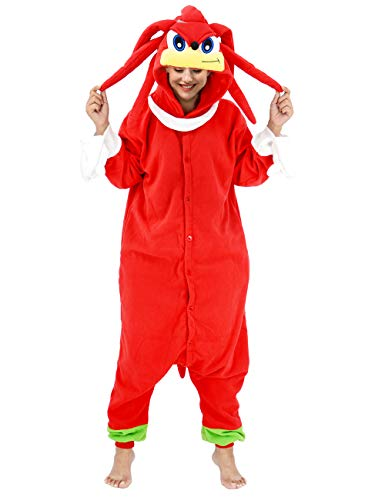 vavalad Adult Sonic knux Onesies Pajamas Cosplay Animal Homewear Sleepwear Jumpsuit Costume for Women Men