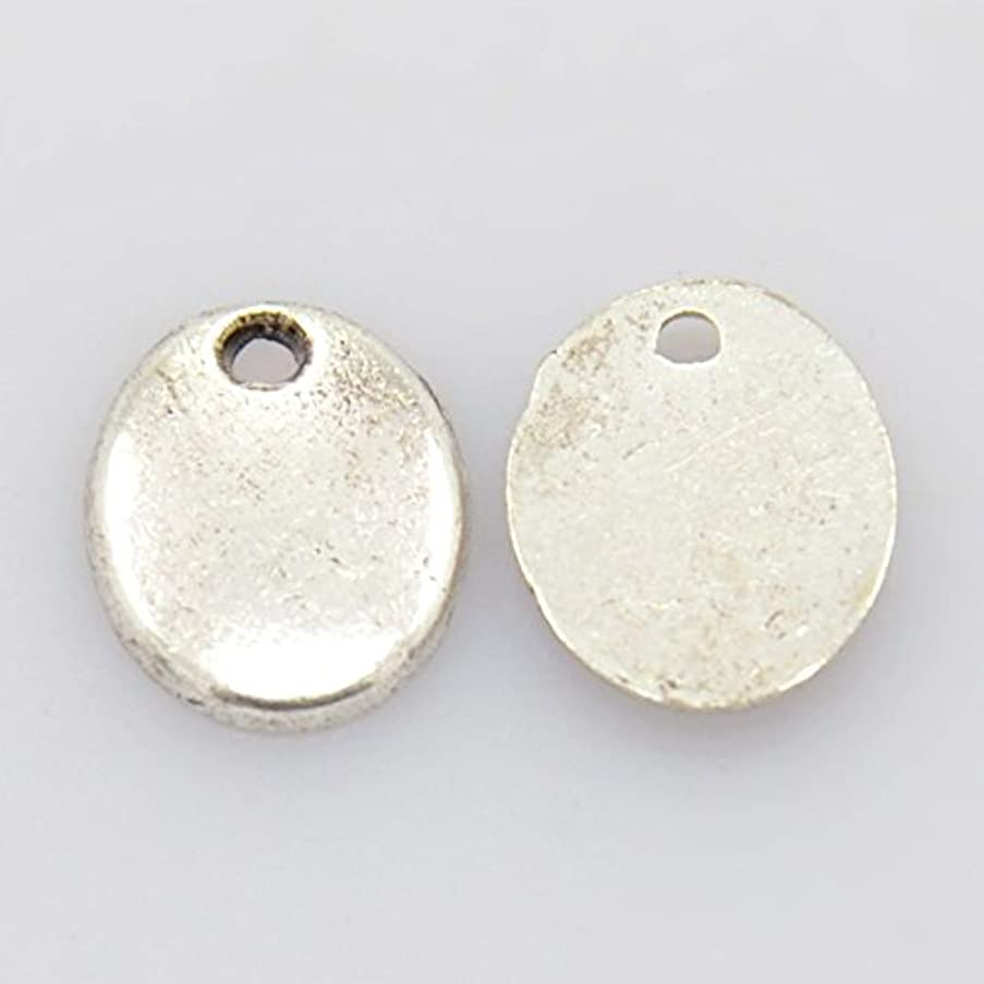 PEPPERLONELY Brand 20PC Antiqued Silver Oval Stamping Blank Tags Charms 10X8mm