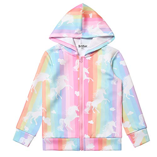 Zip Up Hoodie Zipper Jackets for Girls Unicorn Outfits Tops 6t 7t