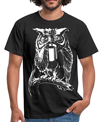 Eule Kaffee Männer T-Shirt, XL, Schwarz
