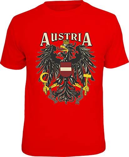 Trendagentur KEPPLINGER Mega Cooles T-Shirt mit Aufdruck: Austria - Ideales Andenken, Mitbringsel und Geschenk (Rot, M)