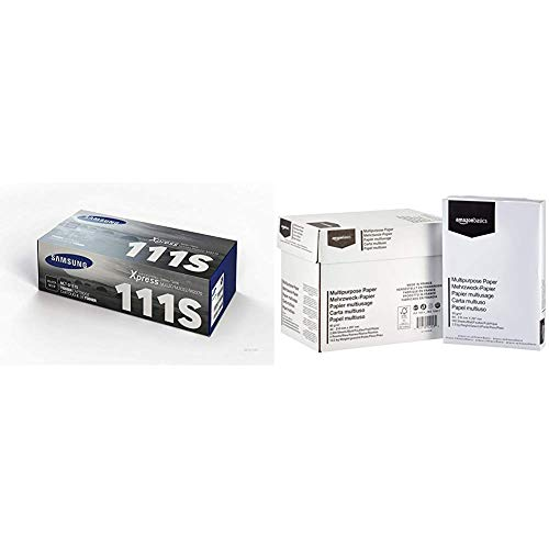 Samsung MLT-D111S SU810A Cartuccia Toner Originale Standard, 1000 Pagine, Compatibile con Stampanti Laserjet Monocromatiche Serie M2020, M2070 e SL-M2020, Nero & Amazon Basics Carta da stampa multiuso