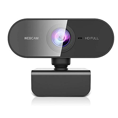 Owfeel Webcam 1080P com microfone WebCam de Streaming para Desktop sem drive, em Full HD, Câmera de computador USB Plug and Play com foco automático rotativo de 360º para laptop/PC/Mac