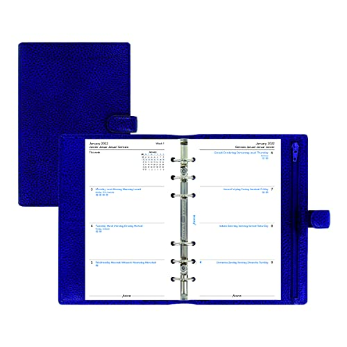 Filofax Finsbury Organizer, Personal Size, Blue – Traditional Grained Leather, Six Rings, Week-to-View Calendar Diary, Multilingual, 2022 (C022499-22)