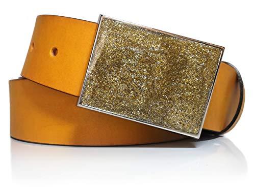 Cinturón de piel vaquetilla amarillo con chapón (Amarillo, 100)
