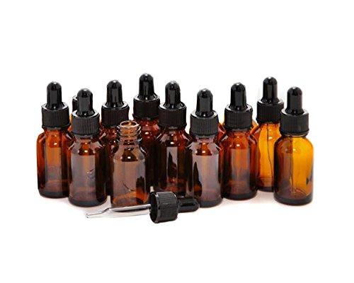 12 flaconi vuoti ricaricabili da 5 ml/10 ml, in vetro ambrato per oli essenziali, aromaterapia, cosmetici, contenitori per fluidi Elite con contagocce in vetro e tappi neri