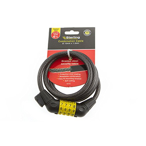 Sterling 101C 10 x 1500mm Combination Locking Cable with Self Coiling/ Bracket