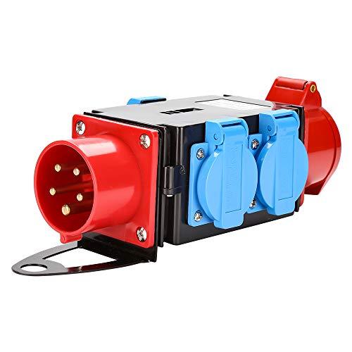 wolketon Kraftstrom Starkstrom Verteiler CEE 400V/16A+3 x 230V Schutzkontaktsteckdosen Industrie Stromverteiler 5 Polig IP44 Mit Sicherheitsklappdeckeln Für Baustelle