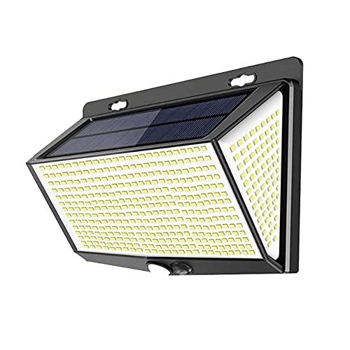 Luces de pared con energía solar, luces solares de 270 ° al aire libre, 468 luces LED de seguridad solar al aire libre, lámpara de calle exterior impermeable para jardín, puerta delantera, garaje