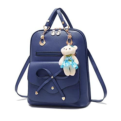 Syrads Bolso de viaje informal para mujer Bolso de hombro para mujer Mochila escolar de cuero PU lindo Mochila para niñas,Azul marino