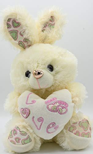 ML Regalo para la Madre. Oso de Peluche con Felpa Muy Suave con un Corazon de Frase de Amor - Peluche Conejo tierno 32x20cm (Blanco)