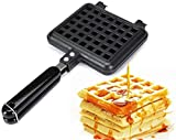 Waffle Iron 30 x 14.5cm Non Stick Household Waffle Bake Pan, Aluminum Alloy Kitchen Waffle Maker Pan, No Noxious or Additives in the Material, for Belgian Waffles Sandwich Toaster