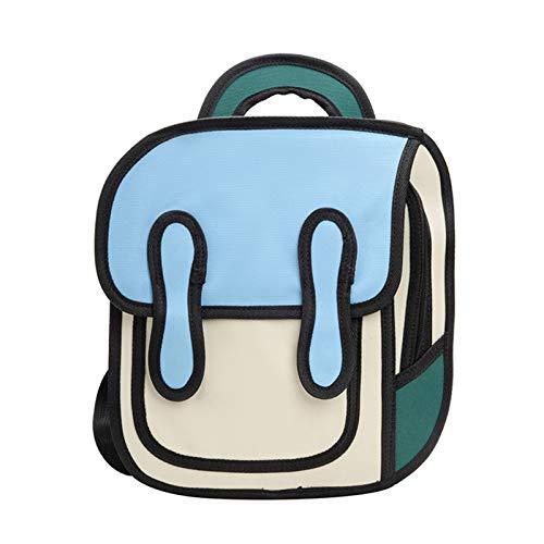 SUCHUANGUANG 3D Jump Style Dibujo 2D Niños Mochila de Dibujos Animados Escuela Comic Bookbag BL Nylon Mochilas Escolares