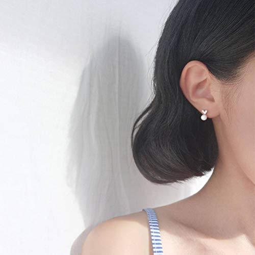 XFF Argent Mignonne Germer Amour en Forme de Coeur Brillant Plein Diamant Mère Perle S925 Boucles d'oreilles en Argent Bijoux Exquis Femme, Plateau,