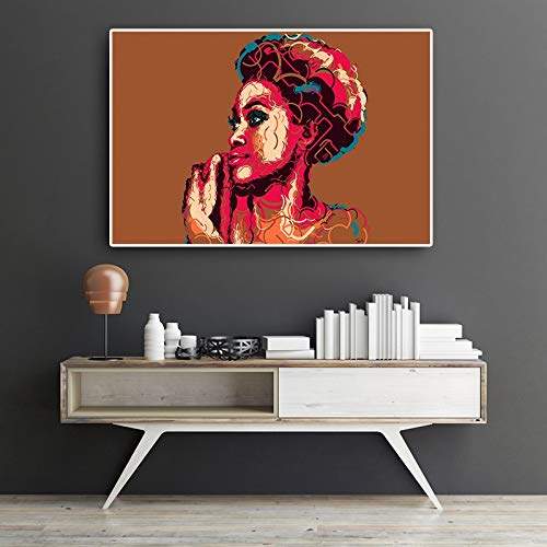 Santangtang geometrisch olieverfschilderij van abstracte Afrikaanse karakters op Scandinavisch canvas en frameloze printkunst op muurschilderijen in de woonkamer