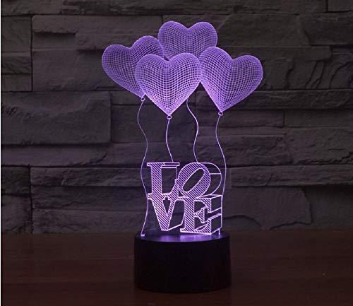 Liefdeshart gestippeld 7 visuele nachtlampjes de kleurenlamp 3D voor kindnoten-usb-tafellamp in ballon op, kleurrijke romantische cadeaus voor kinderen en vrienden