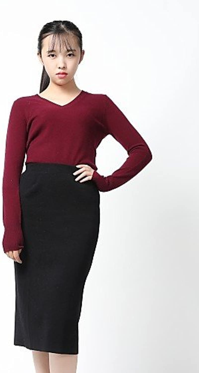 Xuanku HEART SOUL Women's Casual Daily Work Regular Cashmere,Solid V Neck Long Sleeves Cashmere Fall Winter Medium Stretchy