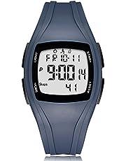 READ Reloj Digital Deportivos, 3D Podómetro Digital Pantalla de Tiempo Alarma Cronómetro Datos de 7 días con luz Negra LED para Caminar y Correr