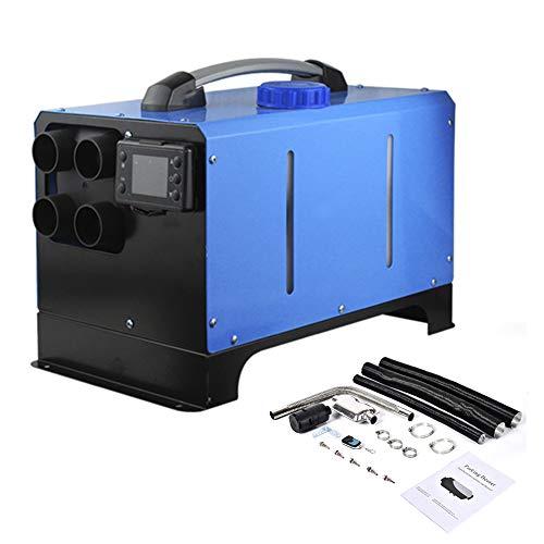 5KW 12V/ 24V Diesel Luftheizung Fernbedienung Fahrzeugheizung Diesel Lufterhitzer 4 Löcher LCD Monitor Thermostat Air Standheizung Auto Heizung mit LCD-Schlüssel Schalter + Schalldämpfer (24V blau)
