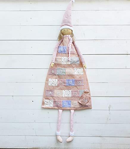Arinosa Adventskalender zum Befüllen Rosa Wintermädchen Patchwork H140 x 53 cm