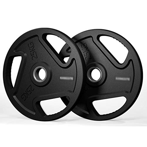 Weight Plates 2pcs Cast Steel Barbell Weight Plate Rubber Skin Pattern 5cm Hole Olympic Dumbbell Weight Plates for Home Gym Fitness Fitness Training Weight Plate (Color : 50kg(25kg*2))