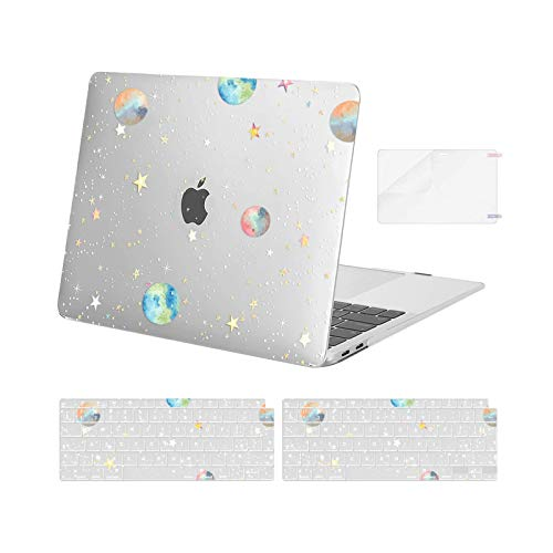 MOSISO MacBook Air 13 inch Case 2020 2019 2018 Release A2337 M1 A2179 A1932,Plastic Planets Stars Hard Shell&Keyboard Cover&Screen Protector Only Compatible with MacBook Air 13 inch Retina,Transparent