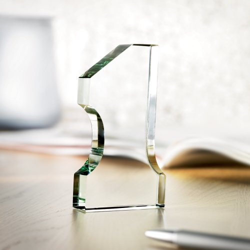 eBuyGB Briefbeschwerer aus Glas in Form Einer Zahl Eins, in Geschenkverpackung, transparent