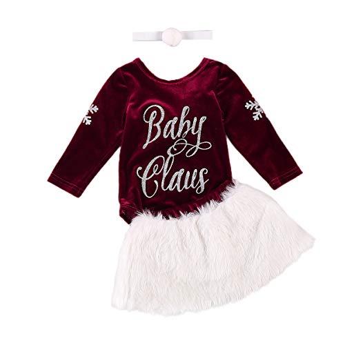 3-teiliges Weihnachts-Set für Kleinkinder, Babys, Mädchen, Schneeflocken-Druck, langärmelig, Samt, Strampler + Mini-Rock aus Plüsch + süßes Haarband. Gr. 86, rot