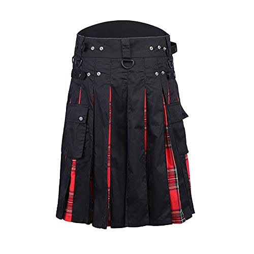 pantaloni uomo quadri scozzesi YFZCLYZAXET Kilt Scozzese Pantaloni A Quadri da Uomo Tinta Unita Punk Hip-Hop Avant-Garde Moda Stile Scozzese Kilt-Rosso_XXL