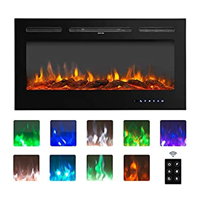 """BAHOM 40"""" Electric Fireplace Heater Insert with TV Stand, Wall Mounted Heater Indoor with 9 Flames, Remote and Thermostat Control, Black Product Name"""