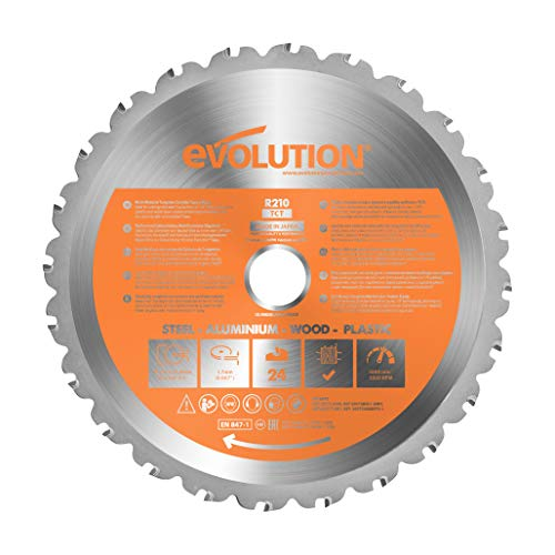 Evolution Power Tools - Hoja de sierra multiuso con punta de acero de carburo RAGE, 210 mm
