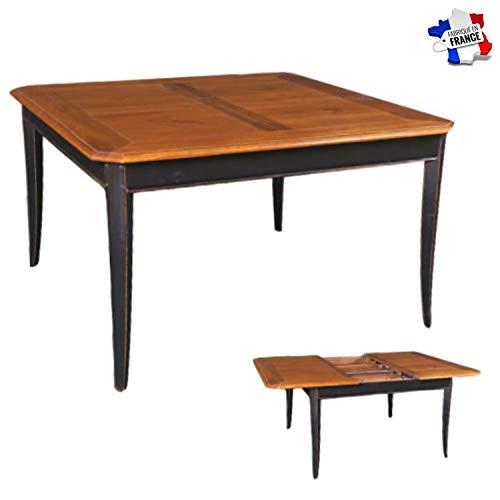 GONTIER tafel, vierkant, kersenhout, massief, 100% in Frankrijk gemaakt 120x77x120 Laque Noire et Plateau Merisier Teinte D
