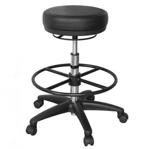 Amstyle, roland, draaikruk, rolkruk, rond zitkussen, zitkruk, wielen geremd, werkstoel, 120 kg, in hoogte verstelbaar, draaistoel, praktijk, cosmetica, kapper, kruk, werkplaatskruk, zwart