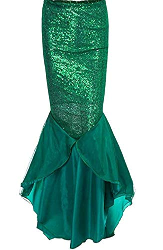 jsadfojas Disfraz de sirena para mujer, falda larga de cola de pez, lentejuelas, disfraz de fiesta de Halloween, Navidad, vestido de fantasía, falda de lápiz, falda plisada, traje de cola de p