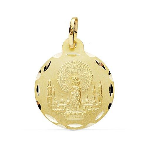 Medalla Oro 18K Virgen Pilar 20mm. [Ab0770Gr] - Personalizable - Grabación Incluida En El Precio