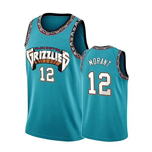 WXFO Morant #12 Jersey, Grizzlies Embroidery Basketball Jerseys,Men's Retro Casual Sleeveless Vest, Unisex Vintage Tank Top Green-M