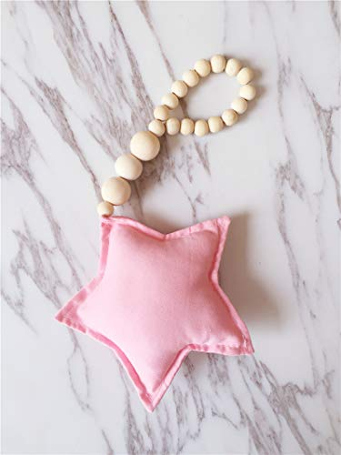 AOVITY Wood Bead Garland Wall Hanging Star Tent Bed Curtain Hemp Rope Beaded Tassel Garland Decor Beads Handmade for Children's Baby Room Home Decoration Photography (Pink)