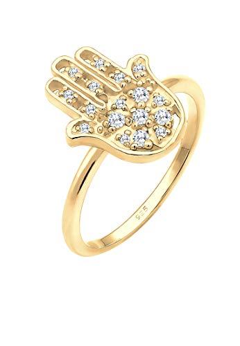Elli Ring Hamsa Hand Zirkonia Kristalle Boho 925 Silber