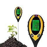 RASHION - Tester 4 in 1 per terra, misurazione dell'umidità delle piante, valori del pH, intensità luminosa, contenuto della temperatura, grande display LCD per terriccio, giardino, fattoria, prato