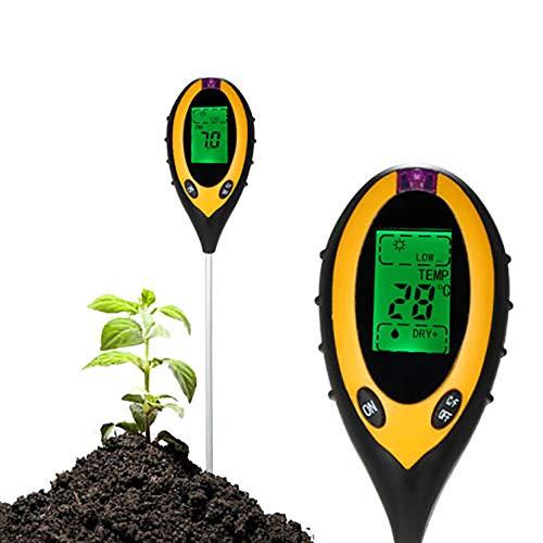 RASHION 4-in-1 Bodentester, Feuchtigkeitsmessgerät Pflanzen, Ph Wert Messgerät, Lichtintensität Bodenfeuchte Inhalt Temperatur PH Große LCD Anzeige für Pflanzenerde, Garten, Bauernhof, Rasen