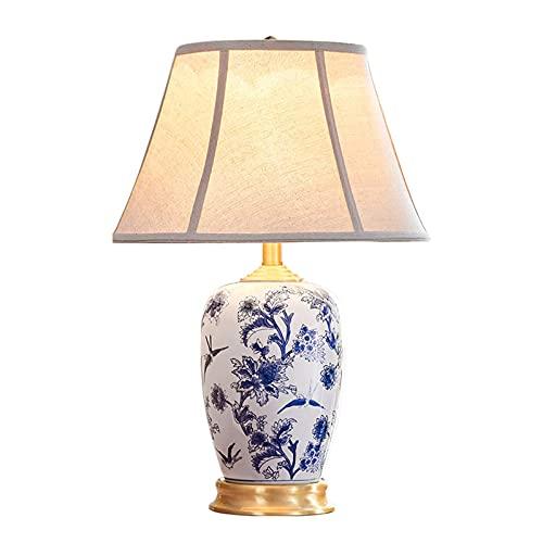 Water cup Chinesische Tischlampe Handbemalte Tischlampe Aus Blauem Und Weißem Porzellan, 40 * 57 Cm Messing-Tischlampe, Geeignet Für Die Häusliche Umgebung, Hotel, Blumenladen Bele