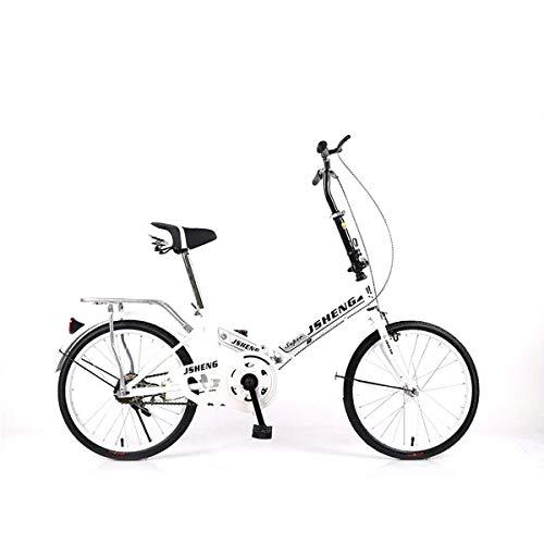 H.aetn Bicicleta Plegable portátil de 20 Pulgadas Bicicleta Plegable Estudiante Femenina Velocidad única Velocidad Variable Amortiguador Bicicleta, Singlespeed