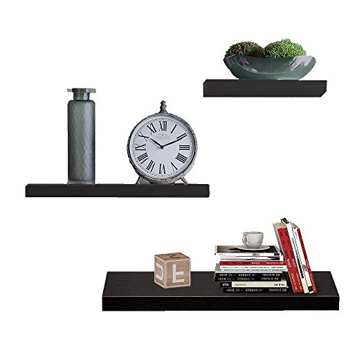 Floating Shelves Wall Mounted Set of 3, Heavy Duty Wooden Decor Storage Wall Shelf for Bedroom, Living Room, Bathroom, Kitchen and Office. (Matte Black)