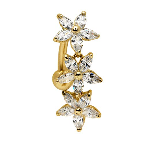 JewelryWeb Solid 14k Yellow or White Gold Marquise Flower Cubic Zirconia CZ Top Mount Belly Button Ring Dangle (7mm x 24mm) (Yellow-Gold)