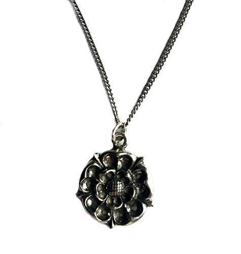 Collana con rose Tudor, realizzata a mano in Inghilterra in peltro inglese di fine fine confezione regalo.