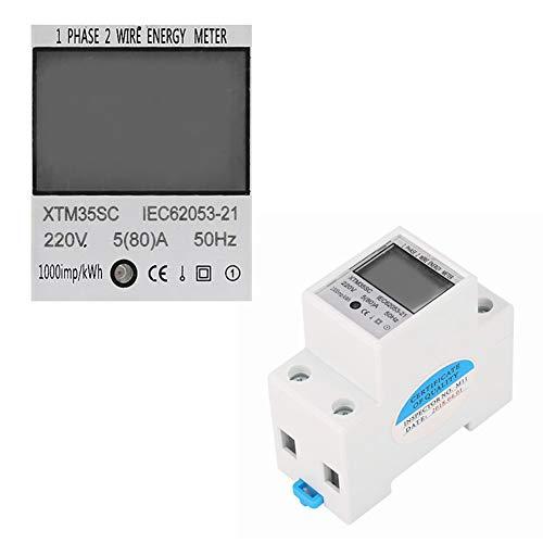 Compteur électrique, 220V 5 (80) A Compteur électrique numérique monophasé à 2 fils 2P sur rail DIN Compteur électronique KWh
