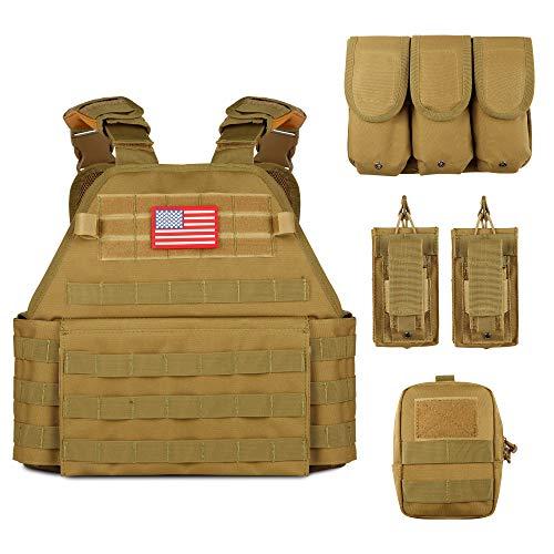 Obemisk Tactical Vest Outdoor Lightweight Combat Training Vest Adjustable & Breathable for Adults 600D Polyester Tan
