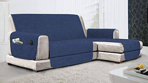 MB HOME BASIC - Funda Antideslizante para sofá Chaise Longue DX Relax, Royal, 240 cm
