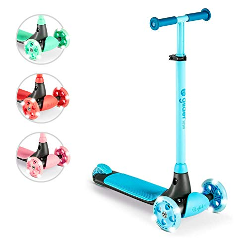 Yvolution Y Glider Kiwi | Three Wheel Kick Scooter for Kids with LED Wheels for Children Age 3+ Years (Blue)