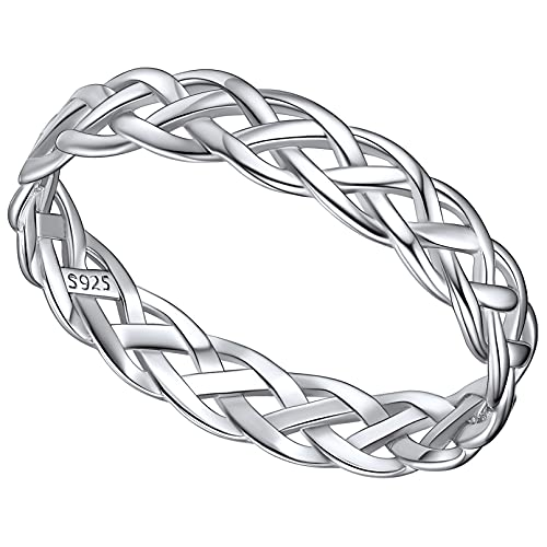 Engagement Rings 4mm Sterling Silver Celtic Knot Wedding Band Finger Ring Charms for Woman